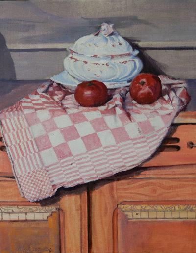 Walter van Dieren   Stilleven met theedoek, appels en servieskom